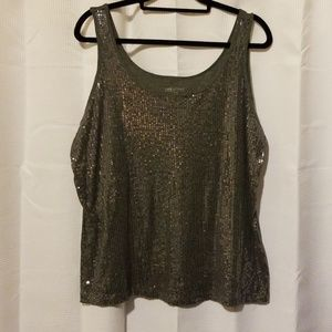 Lane Bryant Gray Sequence Tank Top Size 14/16